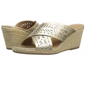 NWT Lucky Keela Leather Open Toe Casual Espadrille